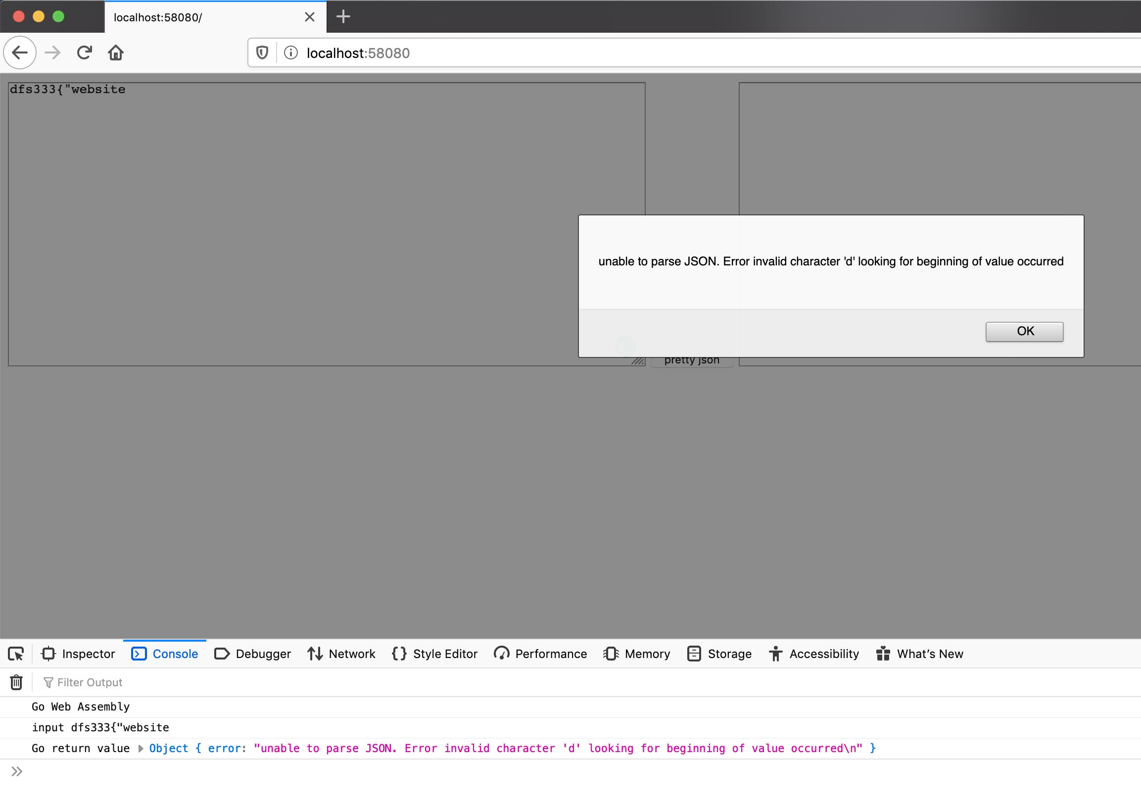 Go WebAssembly error handling